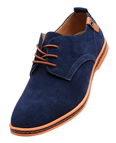 Blue Leisure DADAWEN shoes Oxford Leather Shoes Men's style up british Bussiness Suede Lace 7wq4Rv7f
