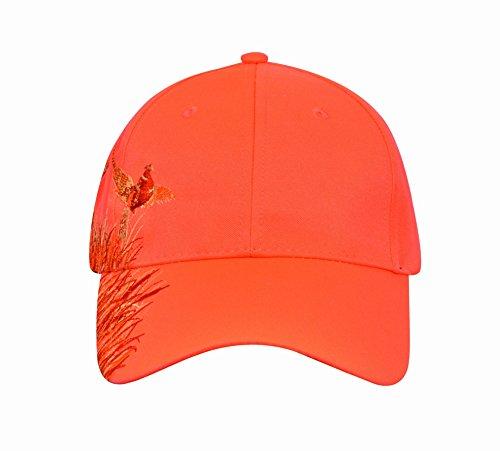 Review KC Caps Men Hunting Hat Orange Embroidered Baseball Cap Adjustable Back with Velcro Closure,Neon Orange Pheasant