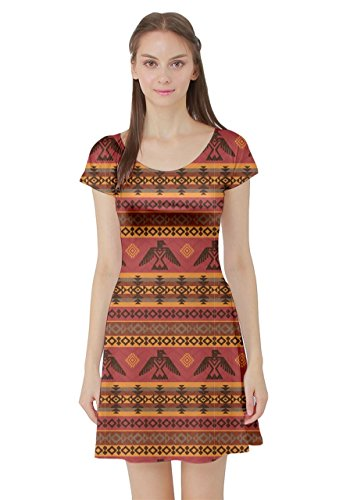 Eagles Sleeve Short Native Tiki Eagles Aloha African CowCow Vintage American XS Womens Ethnic Tribal Brown Dress 5XL CxqvnPCaw0