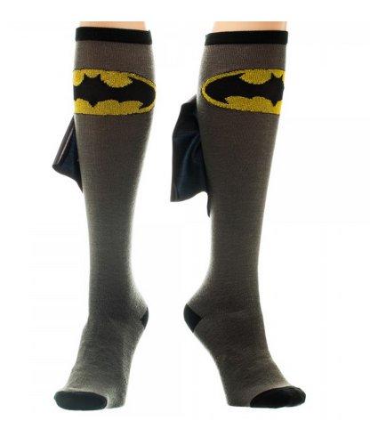 DC Comics Batman Cape Knee High Socks 1 x 1in  Black/Grey  One Size ()