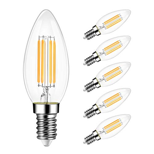 B11 LED Edison Filament Bulb Dimmable 40W Equivalent, LVWIT E12 Candelabra Base 3000K Soft White Candle Light Bulb, UL-Listed (6 Pack)