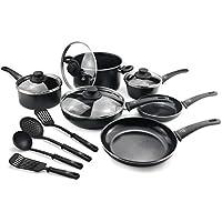 GreenLife Soft Grip Diamond Healthy Ceramic Nonstick, Cookware Pots and Pans Set, 14 Piece, Black,CW001923-004