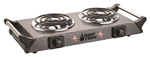 Super Flama 2R-TAS-G Parrilla Eléctrica de 2 Resistencias con Termostato y Asas Metálicas Laterales, color Gris Martillado