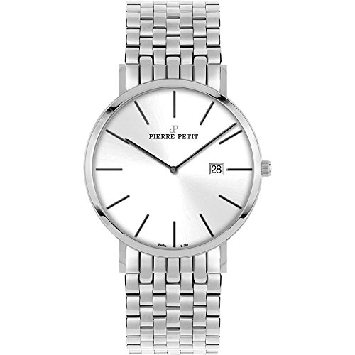 Pierre Petit Men's P-787F Serie Nizza Silver Dial Stainless-Steel Date Watch