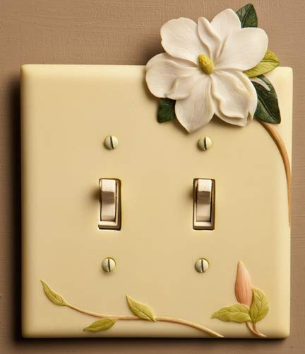 Magnolia Hand Painted Double Switchplate Cover - Double Pole Style - Ibis & Orchid ()