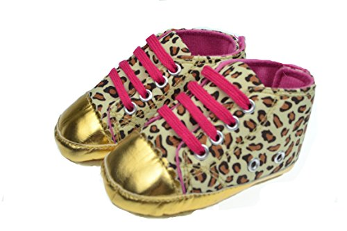 Nettes Baby-Säuglingskleinkind Leopard-Gold Krippe Schuhe,  Gehen Sneaker