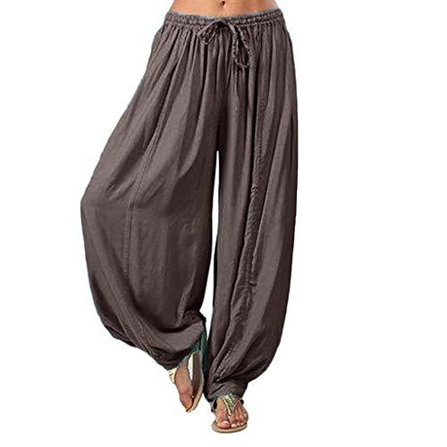 (Pants for Women, Pervobs Women Loose Elastic Waist Harem Pants Yoga Bloomers Pants Trousers(L, Gray))