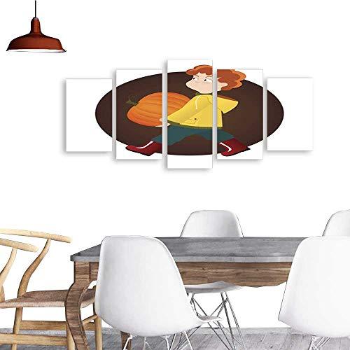 UHOO 5 Piece Wall Art Painting PrintRed Kid boy Holding Pumpkin on Halloween or Thanksgiving Festival odern Decoration Living Room