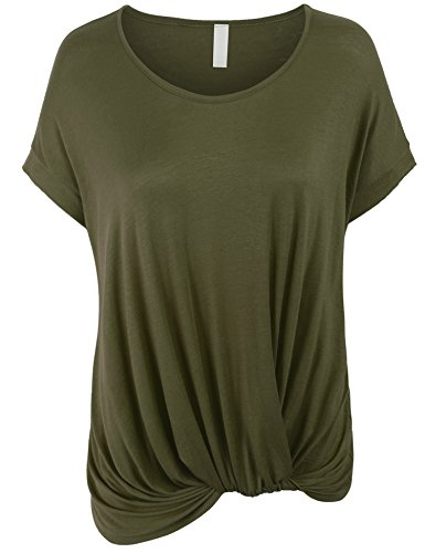 Boatneck Dolman Top with Knot on Hemline - 17 Color Choices!