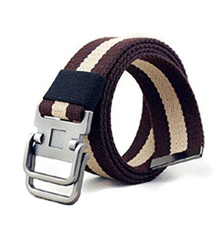 Micrkrowen Fashion Double Buckle Casual Stripes Canvas Waist Belt(coffee) Stripe Double Wrap Belts