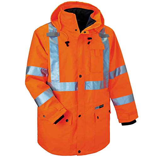 (Ergodyne GloWear 8385 ANSI High Visibility 4-in-1 Reflective Safety Jacket, Orange, X-Large)