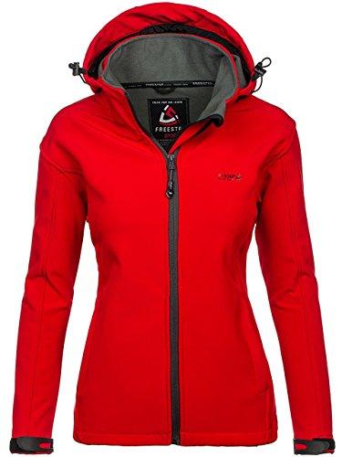 Bolf Chaquetas de las mujeres Multipurpose Capucha Bolsillos 4D4 Motivo Rojo