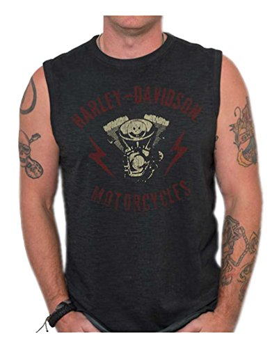 Harley-Davidson Mens Genuine Parts Premium Sleeveless Muscle Tank, Black Wash