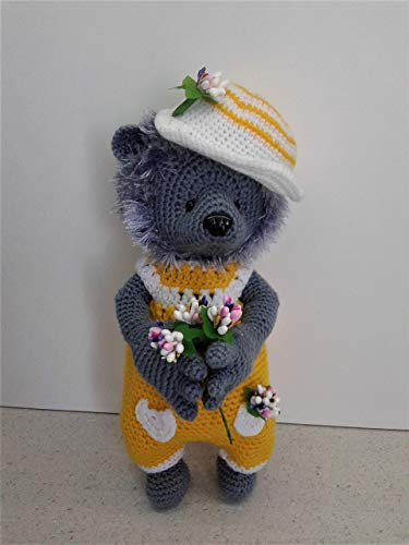 Amigurumi Hedgehog Soft Toy. Knitted Doll in a Cap and Overalls. Hedgehog as a Gift to the Child. Interior Toy for Children's Room Decor.