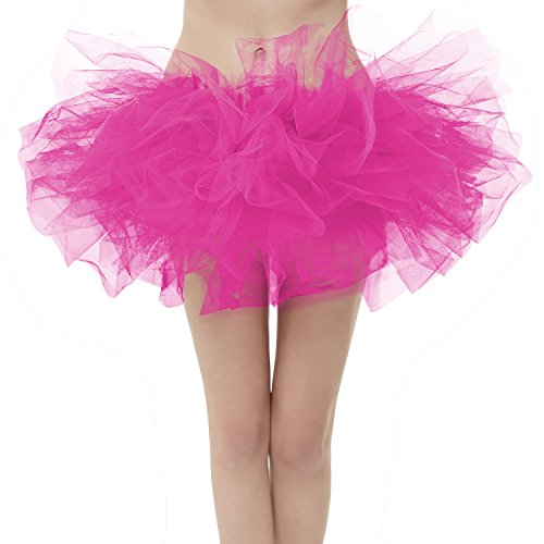 (Girstunm Women's Classic Layers Fluffy Costume Tulle Bubble Skirt Fuchsia-Plus)