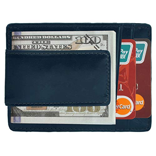 - Volcanic Rock Slim Front Pocket Wallets with Money Clip Thin Credit Card Holder (Navy Blue)