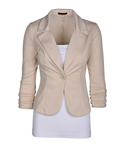 omen's Casual Work Solid Color Knit Blazer Cappuccino 3X (Knit Suit)