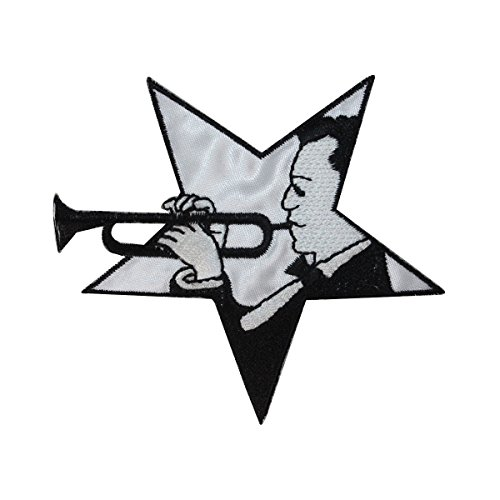 (ID 3177 Star Trumpet Player Patch Jazz Band Music Embroidered Iron On Applique)