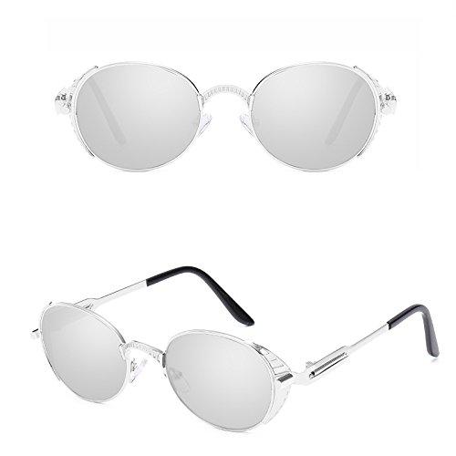 Cercle Bmeigo Rond Argenté Protection Unisex Steampunk lunettes métallique UV Lunettes Retro de soleil fOBgcR