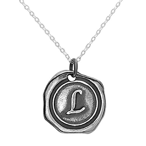Sterling Silver Personalized Wax Seal Initial Custom Necklace Charm Pendant - Letter L (Sterling Silver Wax Seal Pendant)
