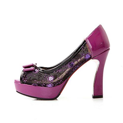 AgooLar Women's Assorted Color Blend Materials High Heels Peep Toe Pull On Sandals Purple Vdks0O