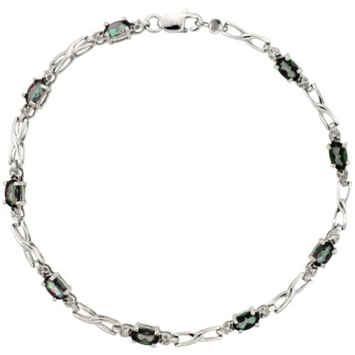 10k White Gold XOXO Hugs & Kisses Tennis Bracelet 0.05 ct Diamonds & 2.25 ct Oval Mystic Topaz, 1/8 inch (Kisses Diamond Tennis Bracelet)