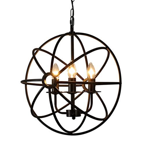 Iron Branch Wrought (Chandelier 3-Light Round Metal Wrought Iron Pendant Light with LED, Matt Black, Industrial Lighting Ceiling Light)