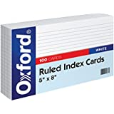 """Oxford Ruled Index Cards, 5"""" x 8"""", White, 100/Pack (51)"""