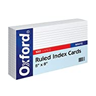 "Oxford Ruled Index Cards, 5"" x 8"", White, 100/Pack (51)"