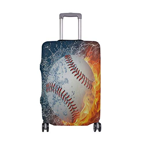 - Suitcase Cover Baseball Fire Water Luggage Cover Travel Case Bag Protector for Kid Girls