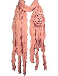 Acrylic Fashion Large Flower Ruffle Knitted Tassel Ends Long Scarf