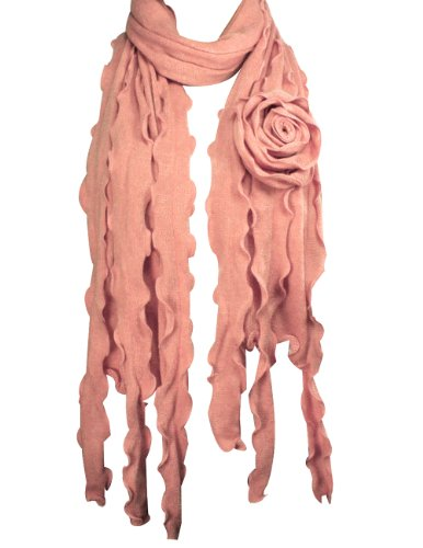 Acrylic Fashion Large Flower Ruffle Knitted Tassel Ends Long Scarf - Pink (Pink Knitted Scarf)
