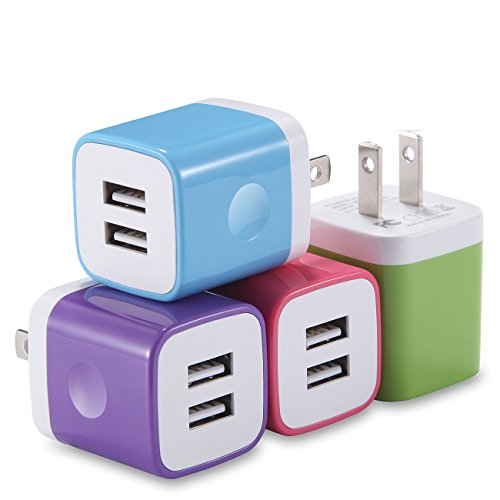 X-EDITION USB Wall Charger, 4-Pack 2.1Amp Dual Port USB Plug Power Adapter Charging Block Compatible with iPhone Xs Max Xs XR (2018) X 8 7 6S 6 Plus 5S, iPad, Samsung, LG, Motorola, Android and More