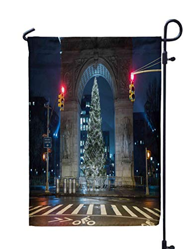 Shorping Garden Flag Stand, 12X18Inch Welcome Garden Flag New York Jan Red Traffic Lights Washington Square Park for Holiday and Seasonal Double-Sided Printing Yards Flags,Peach Green -