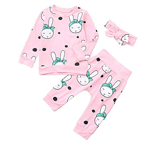 Hot Sale!! 3PCS Toddler Baby Cartoon Rabbit Print Top Shirts +Pants+Headbands Pajamas Home Wear Set Outfit (Pink, 3-6 Months)