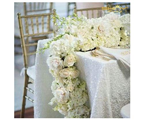 ShinyBeauty White Sequin Tablecloth for Wedding/Event/Party/Banquet (48''x72'') -