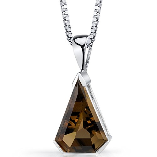 Chevron 6.75 Carats Smoky Quartz Pendant Necklace Sterling Silver Rhodium Nickel Finish