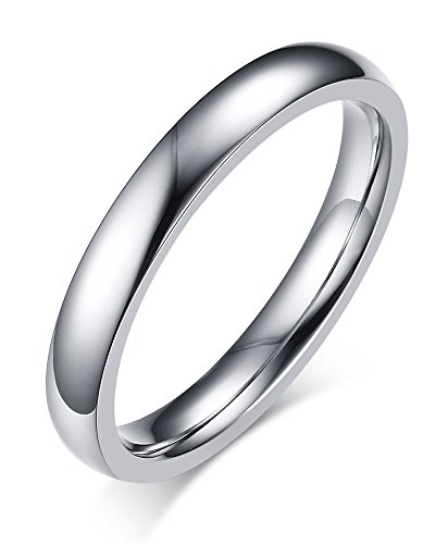Stainless Steel Thin Plain Wedding Band Ring for Women,3mm Width,Size 7