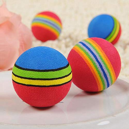 Cat Toys - 10pcs Rainbow Toy Ball Small Dog Cat Pet Eva Toys Golf Practice Balls Training - Self Crinkle Feather Rolling Ball Spin Toys Ball Chat Satin Waistcoat Bora Interior Golf Game Co (Spin Satin)