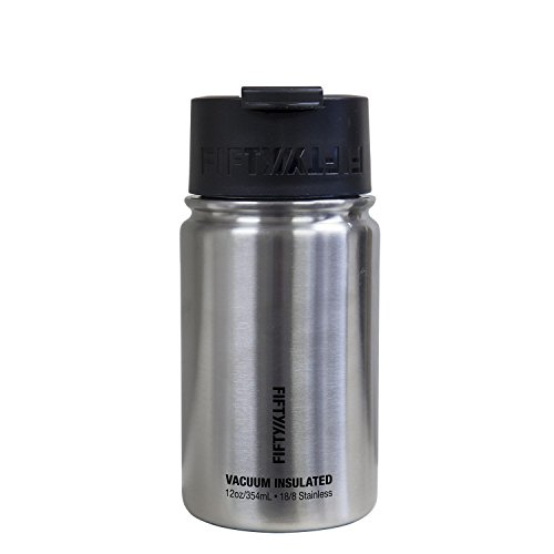 Fifty/Fifty 12oz, Double Wall Vacuum Insulated Café Water Bottle, Stainless Steel, Flip Cap w/ Wide Mouth, Silver, 12oz/354ml