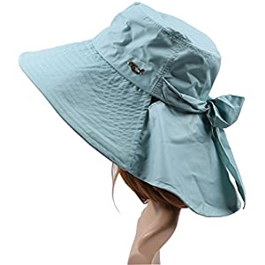 Ls Lady Womens Summer Flap Cover Cap Cotton Anti-UV UPF 50+ Sun Shade Hat With Bow. Adjustable Hat