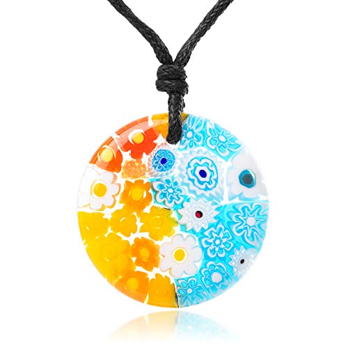 - Chuvora Millefiori Murano Glass Multi-Colored Flowers Round Pendant 28 mm Adjustable Necklace 15