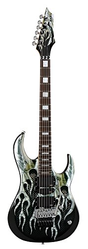 Dean Michael Batio Guitar, Armored Flame Graphic with - Graphic Ebony