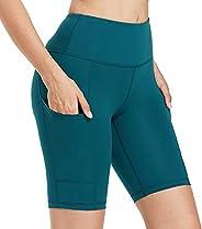 Willit Women's Biker Short High Waisted Yoga Long Shorts Workout Running Exercise Shorts Side Pocket