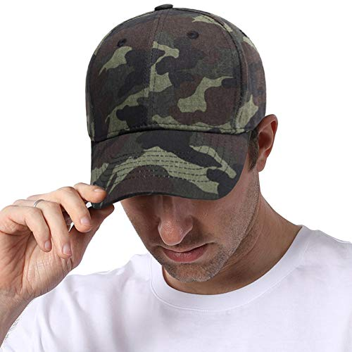 DOCILA Youth Plain Camo Baseball Caps Curved Bills Structured Outdoor Hats (Camo)