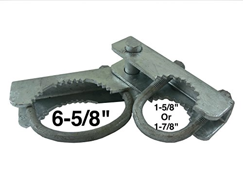 Chain Link Fence 180 Degree Commercial Duty Gate Hinge - For 6-5/8'' Outside Diameter Gate Post/Pipe & 1-5/8 thru 1-7/8'' Gate Frames - Galvanized Chain Link Post Gate Hinge - Hinge U Bolts Included by Chain Link Gate Hinge Hardware