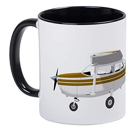 Cessna 172 Skyhawk Brown Mug - Ceramic 11oz RINGER Coffee/Tea Cup Gift Stocking Stuffer