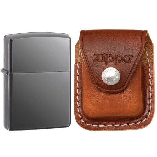 Zippo 150 Classic Black Ice Dark Chrome Windproof Lighter with Zippo Brown Leather Clip Pouch (Leather Zippo Lighter Pouch Brown)
