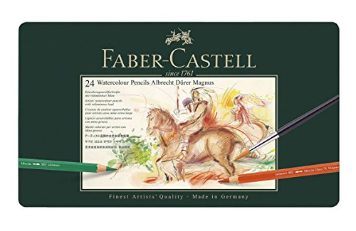 Faber-Castell Albrecht Durer Magnus Watercolor Pencil Tin, Set of 24 Colors with Brush (FC116924)