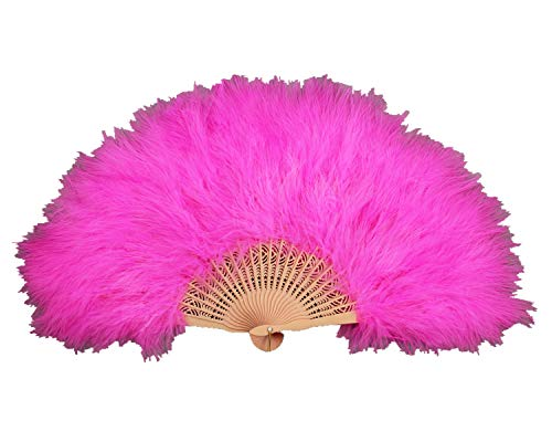 PANAX Handmade Fan from Real Turkey Feathers in DarkPink, Ideal for Carnival, Halloween, Costumes, Dance, teater, -